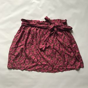 NWT American Eagle Brown and Pink Floral Tie Skirt
